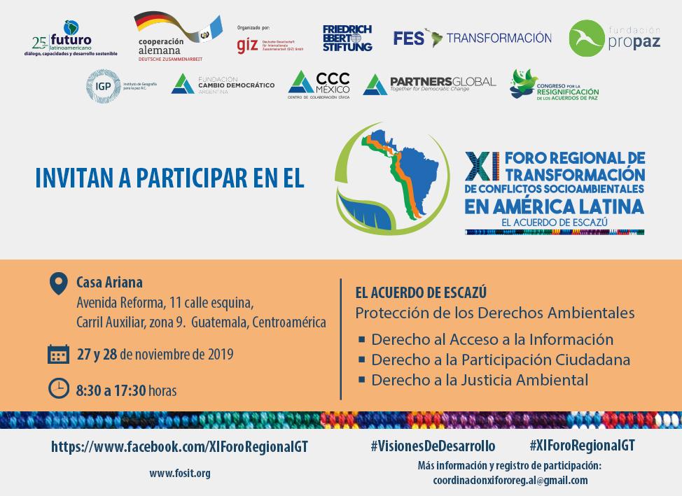 XI Foro regional de transformación de conflictos socioambientales en América Latina